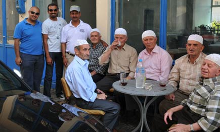 Greek Muslim men enjoying an afternoon tea in Krios