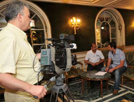 Ali being interviewed on Syrian Television