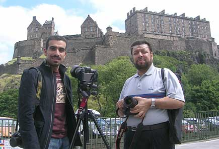 Shafiq Khalaf and Ammar Hammad near Edinburgh Castle on their first day in Scotland